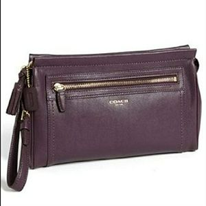 XL COACH Black Violet Purple Leather Clutch Wristl